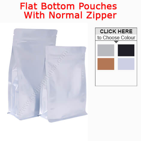 FLAT BOTTOM POUCHES WITH ZIPPER