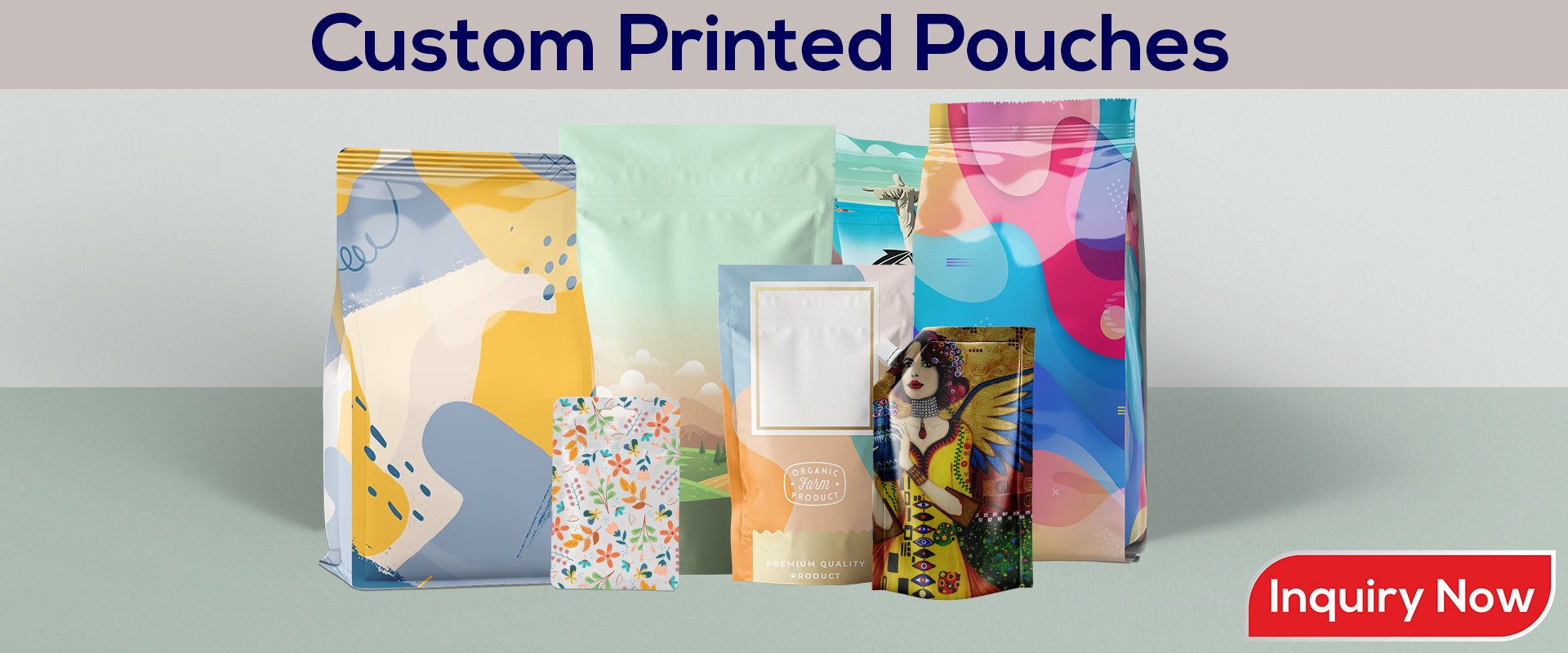 4 to 9 Color Custom Pouches